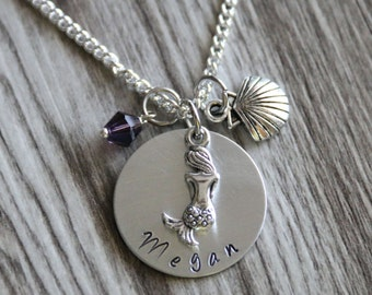 I am really a mermaid Necklace, Hand Stamped Pendant, Personalized Name and Birthstone Necklace, Summer Gift, Ocean Necklace