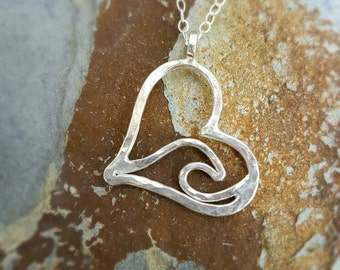 Heart Ocean Wave Sterling Silver Necklace