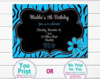 Turqoise Zebra Girls Birthday Party Invitation  --  blue  zebra print Girls Birthday Invitation