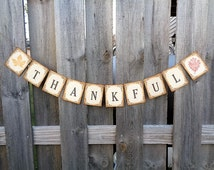 Thanksgiving Banner Thankful Sign Rustic Autumn Home Decoration