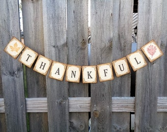 Thanksgiving Banner Thankful Sign Rustic Autumn Home Decoration Fall Leaves Garland Decor
