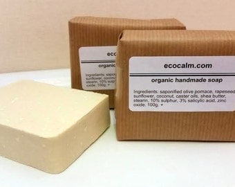 10% Sulphur and Salicylic Acid Soap, handmade and cert. in the UK. For Acne, Eczema and Psoriasis