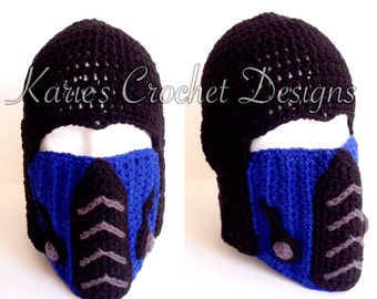 Mortal Kombat SUB-ZERO , Handmade Crochet Hat Beanie Detachable Mask