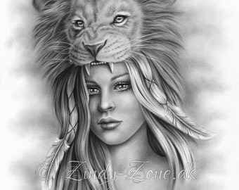 Lion Girl Feather Native Indian Spiritual Emo Art Print Glossy Zindy Nielsen