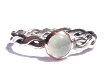 Aquamarine, Solid Rose Gold and Silver Ring - Aquamarine Ring - Rustic Ring - Stacking Ring -Rose Gold Ring -Engagement Ring -Made To Order.