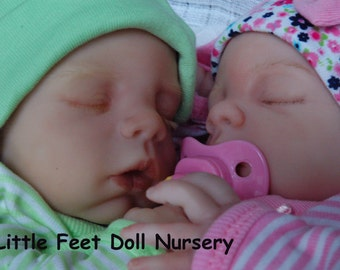 REBORNS Twin Preemie babies Ari and Sydney sweet little faces