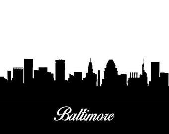 Baltimore Skyline - Download- Print Poster Map - Digital