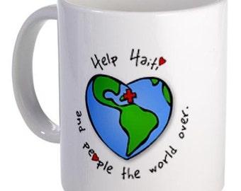 HELP HAITI Earthquake Survivors Relief 11oz Ceramic Coffee Cup Mug
