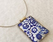 10% Off Gifts Under 30 Cobalt Blue and White Enameled Pendant Necklace