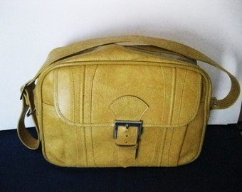 Vintage Escort American Luggage Works Inc. Honey Gold Carry On Travel Bag-Shoulder Bag-Tote Bag Luggage  + Key  #DRG
