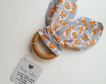 Teething Bunny - Fox Baby Teething Toy - Wooden Teething Toy - Wood Teething Ring - Baby Shower Gift - Baby Stocking Stuffer - Bunny Ear Toy