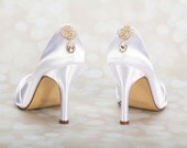Gold Wedding Shoes - Crystal Bridal Shoes - Choose From Over 200 Colors - Choose Your Heel Size -Gold Wedding Shoe - Bespoke Custom Shoes