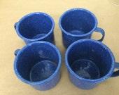 Set of 4 Vintage Blue Enamelware Cups