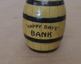 Vintage Happy Days Tin Barrel Bank with Key
