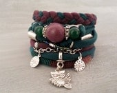 Gypsy Bracelet Green Marsala, Boho Bracelet Set Emerald Green, Nephrite Bracelet, Hippie Jewelry, Owl Charm Bracelet, Jersey Bracelet