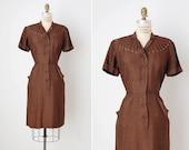 RESERVED // vintage 1940s dress / 40s brown dress / 1940s fitted dress / Brigitte dress