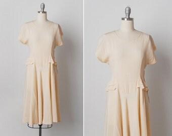vintage 1930s dress / 30s silk dress / peplum dress / Apricot Cream dress