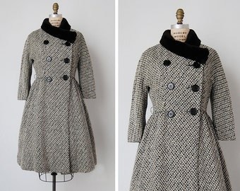vintage 1950s coat / 1950s Bonwit Teller coat / tweed wool coat / Belle Vie coat