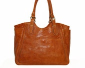 "Distressed Leather Tote Leather Bag Leather Handbag Julia in Vintage Orange XL fits a 17"" laptop"