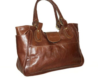 Distressed Tan Leather Bag Leather Tote  Leather Handbag, Julia size L