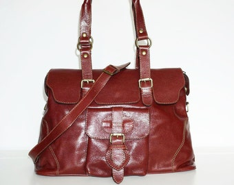 Glossy Red-Wine Leather Tote Shoulder Cross-body Bag Johanna L fits a 13 inches Laptop