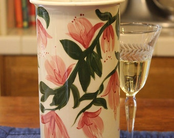 Ceramic Wine Cooler Wine Chiller Pink Fuschias on White Gift for Wine Lover Wedding Gifts