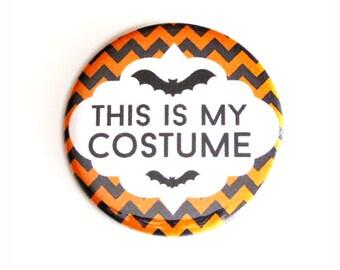 Halloween Pinback Buttons This Is My Costume Black Orange Chevron Accessories