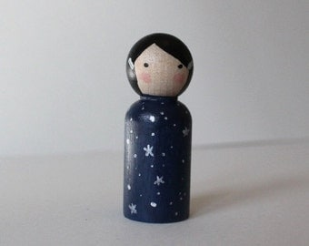 Peg Doll - Mini Kokeshi Doll - Wooden Doll Waldorf Handpainted - Starlight