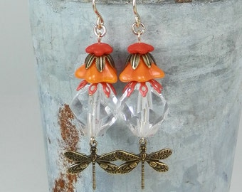 Shades of Orange Dragonfly and Crystal Earrings with Gold Filled Earwires