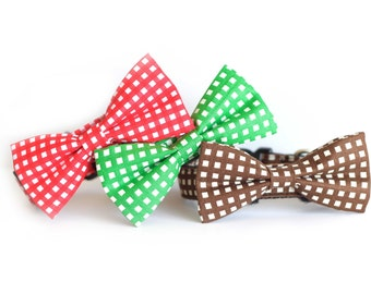 New Color! Gingham party Red Green brown to choose from, Designer dog collars, Bow Tie Dog Cat Collar Bow Tie Dog Collar, Wedding Dog Collar