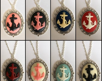 Large Anchor Cameo Necklace
