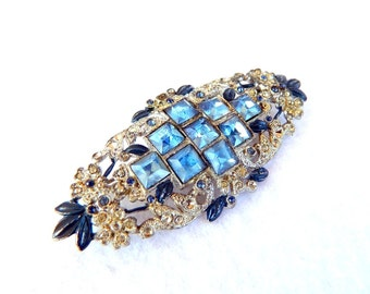 "Antique French Paste Blue Rhinestone Brooch - 3"" Long - 1920 or Earlier - Gorgeous Bridal Brooch"