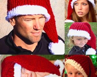 Knitted Santa Hat, Baby Santa Hat, Holiday Hats, Christmas Hats, Christmas Santa Hat, Children Santa Hats, Adult Santa Hat, Christmas Gifts
