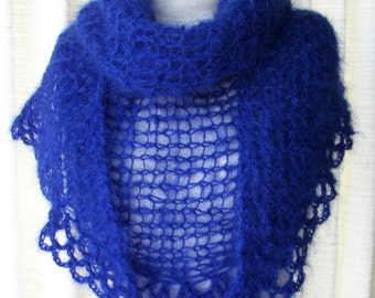 LUXURY English Mohair Hand Knit Shawl Scarf in Midnight Blue / Mccall Paris Mohair