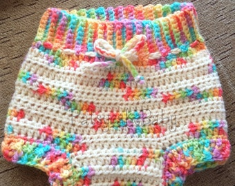 Rainbow Wool Crochet Diaper Soaker Cover