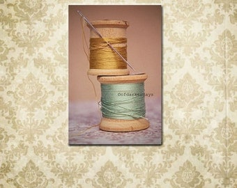 SALE-Still Life Photography-Rustic Chic Wall Art-Wooden Spools of Thread-Canvas Wrap-Vertical Art-Seafoam Green & Gold Wall Decor-Sewing Art