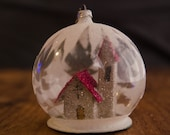Vintage Glass Snow Globe with Putz Paper House Church Mica Glitter Retro Collectible Christmas Ornament Rare Diorama West Germany