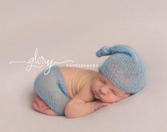 Night cap shorts outfit, baby boy, baby girl, infant boy, newborn boy, newborn photo prop, photo prop, baby boy outfit, baby knit outfit