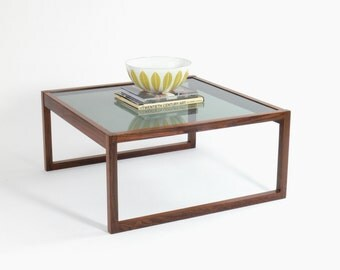 ON HOLD-Danish Modern Rosewood Coffee Table with Frosted Glass Top