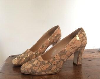 SALE! Vintage Valerie Stevens Espana Angel Heels Pumps Gold Fleck  8 m