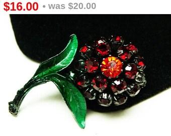 Red Rhinestone Flower Brooch - Black Japanned Enamel - Made in Austria - Green Leaves - 1960's - 1970's Pin