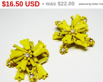 Yellow Flower Earrings - Clip on Earrings with Glass beads - Signed Western Germany - Yellow Beaded Earrings - Vintage European Jewelry