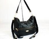 Black Italian Leather Valentina Hobo Bag. Shoulder Handbag. Crossbody Purse. Classy Work Bag. Comfy Slouchy Bag