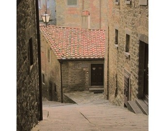 """Fine Art Color Travel Photography of Tuscany - """"Down the Lane in Cortona"""""""
