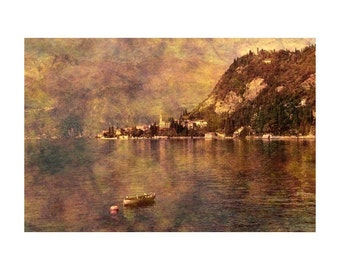 "Fine Art Sepia Photography of Lake Como Landscape - ""View of Varenna"" - Vintage Style Print"