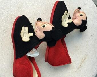 Vintage Mickey Mouse Slippers Children's Felt Slippers with Mickey Mouse Heads Rare Mickey Slippers Mickey Collectible Disney Collectible