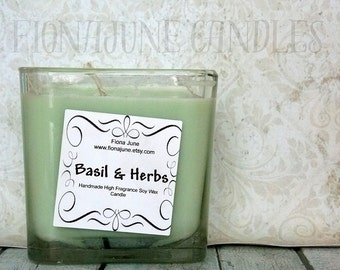 Basil & Herb Scented Soy Candle, 12 oz. Cube Soy Candle, Light Green Vegan Container Candle
