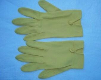 Vintage Women's Gloves Van Raalte Yellow Cotton