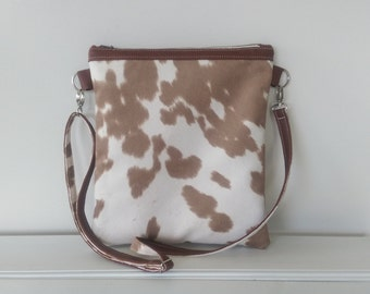SALE :    Cowhide Fabric and Leather Tote