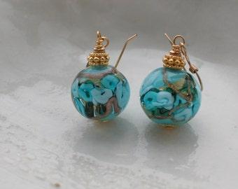 Venetian Murano Round  Blue Earrings
